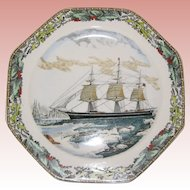 Adams Octagonal Currier and Ives Winter Plate - The Clipper Ship Red Jacket