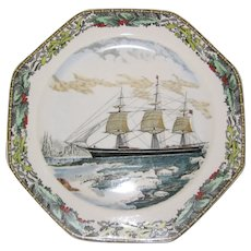 Adams Octagonal Currier and Ives Winter Plate - The Clipper Ship Red Jacket - Red Tag Sale Item