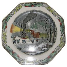Adams Hexagonal Currier and Ives Winter Plate - American Railroad Scene - Snowbound