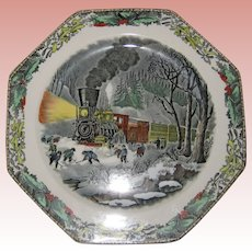 Adams Octagonal Currier and Ives Winter Plate - American Railroad Scene - Snowbound