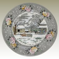 "Adams Currier Transferware Plate - ""Home to Thanksgiving"" - Wild Rose Border"