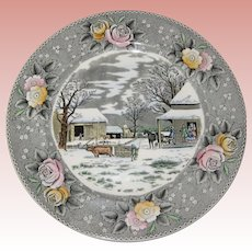 """Adams Currier Transferware Plate - """"Home to Thanksgiving"""" - Wild Rose Border"""