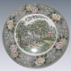 "Adams Currier Transferware Plate - ""American Homestead - Autumn"" - Wild Rose Border"