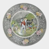 "Adams Currier Transferware Plate - ""Husking"" - Wild Rose Border"