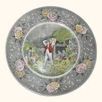 "Adams Currier Transferware Plate - ""Husking"" - Wild Rose Border"