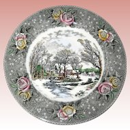 "Adams Currier Transferware Plate - ""Winter in the Country - The Old Grist Mill"" - Wild Rose Border"