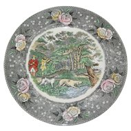 "Adams Currier Transferware Plate - ""Woodcock Shooting"" - Wild Rose Border"
