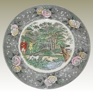 "Adams Currier Transferware Plate - ""Woodcock Shooting"" - Wild Rose Border"