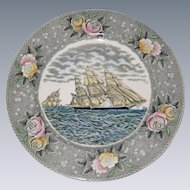 "Adams Currier Transferware Plate - ""The Clipper Ship Sweepstakes"" - Wild Rose Border"