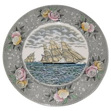 "Adams Currier Transferware Plate - ""The Clipper Ship Sweepstakes"" - Wild Rose Border - Red Tag Sale Item"
