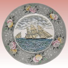 """Adams Currier Transferware Plate - """"The Clipper Ship Sweepstakes"""" - Wild Rose Border"""