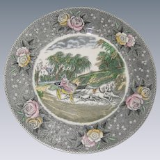 """Adams Currier Transferware Plate - """"The Star of the Road"""" - Wild Rose Border"""