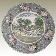 "Adams Currier Transferware Plate - ""The Star of the Road"" - Wild Rose Border"