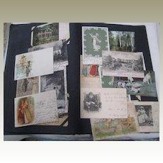 Antique Swedish Postcard Album with Over 90 Postcards