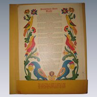 Collection of 6 Pennsylvania Dutch Recipe Fracturs, published by Adele Hostetter and Hershey Ruth Irion 1947