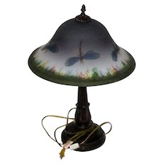 "Retro 23"" Table Lamp with Hand Painted Frosted Glass Shade - Dragonflies"