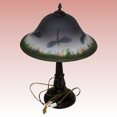 """Retro 23"""" Table Lamp with Hand Painted Frosted Glass Shade - Dragonflies"""