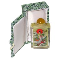 Chinese Reverse Painted Glass Perfume or Snuff Bottle in Original Presentation Box