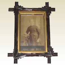 Victorian Walnut Eastlake or Adirondak Picture Frame with Cabinet Photo
