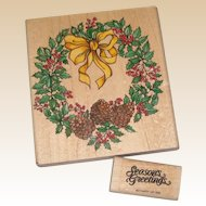 Christmas Rubber Stamps - Pinecone Holly Wreath and Season's Greetings
