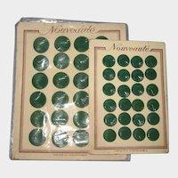 Two Full Cards of Art Deco Green Nouveaute Czech Glass Buttons