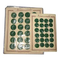 Two Full Cards of Art Deco Green Nouveaute Czech Glass Buttons