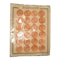 Complete Card of Art Deco Era Peach Pink Czech Glass Buttons