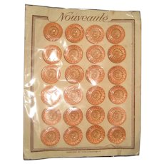 Complete Card of Art Deco Era Peach Pink Czech Glass Buttons