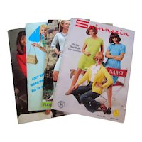 Four 1960's - 1970's Knitting Pattern Fashion Booklets