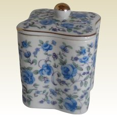Blue Porcelain Chintz Tea Caddy with Roses