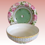 Early 1900's Bridgwood Pottery Berry or Fruit Bowl and Underplate - Pink Roses