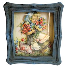 1950's Nursery Framed Picture - Girl with Flowers and Puppy