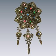 1930's Large Pot Metal Fruit Salad Brooch with Chandelier Drops