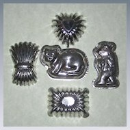 Five Tin Chocolate or Candy Molds