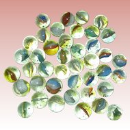 Lot of Peltier Banana Cat's Eye Glass Marbles with Bubbles circa 1950 5/8""