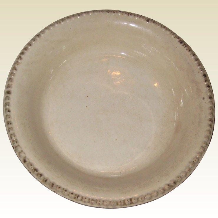 19th C Ironstone Pottery Pie Plate or Dish with Beaded Edge - 8 7/8 & 19th C Ironstone Pottery Pie Plate or Dish with Beaded Edge - 8 7/8 ...