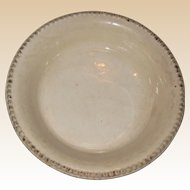 """19th C Ironstone Pottery Pie Plate or Dish with Beaded Edge - 8 7/8"""" - """"Cream Color"""""""