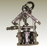 1960's Monet Silver-tone Wishing Well Charm with Movable Handle - Mint!
