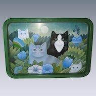 """Martin Leman Metal Cat Tray - 19 1/2"""" x 13 1/2"""" -  1980's"""