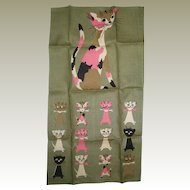 1950's Tammis Keefe Linen Cat Towel - Designed for Fallani and Cohn