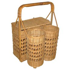 Wicker Picnic Basket or Hamper with Two Wine Bottle Holders