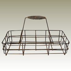 Eight Quart Wire Milk Carrier with Spring Coil Handle