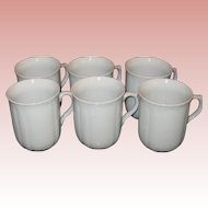Set of Six EPIAG, Czech Republic White Embossed Porcelain Cups in Original Box