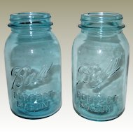 Two Aqua Blue Ball Perfect Mason Quart Sized Canning or Fruit Jars - 1923 - 1962