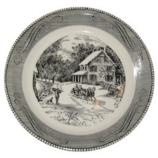 """Royal China Jeannette Currier and Ives """"American Homestead in Winter"""" Pie Plate - Black on White"""