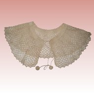 Ecru Hand Crocheted Lace Collar
