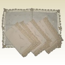 Set of Four Ecru Placemat with Needle Lace Borders and Embroidered Cutwork