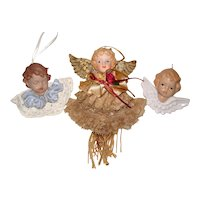 Three Vintage Cherub or Angel Christmas Ornaments