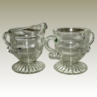 Indiana Glass Ribbon Candy Footed Sugar andCreamer