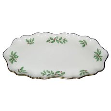 """Lenox Bone China Holiday """"Holly Berry"""" Candy or SnackTray- Made in USA"""